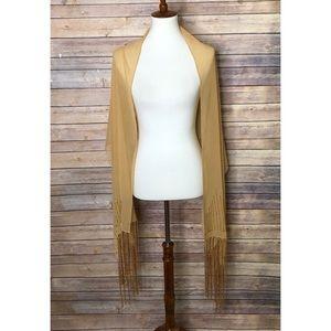 Bijoux Terner Gold scarf/shawl Sheer long fringed